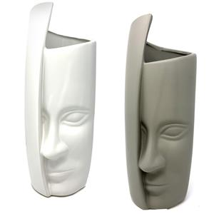 Ceramic Half Face Tabletop Vase - in Grey or White