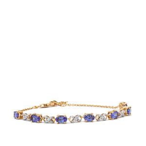 AAA Tanzanite Bracelet with Diamond in 18K Gold 3.48cts