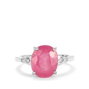Ilakaka Hot Pink Sapphire Ring with White Topaz in Sterling Silver 5.08cts (F)