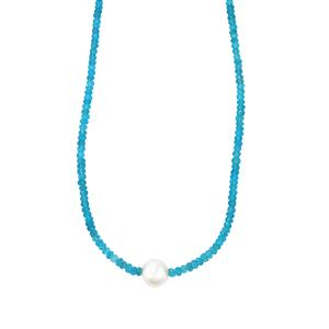 Madagascan Blue Apatite Graduated Bead Necklace with South Sea Cultured Pearl in Sterling Silver