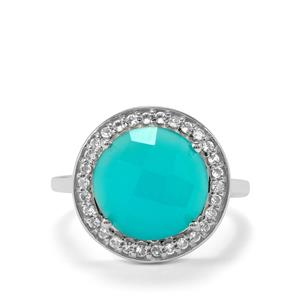 Aqua Chalcedony Ring with White Topaz in Sterling Silver 5.66cts