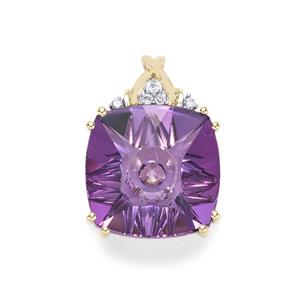 Lehrer QuasarCut Ametista Amethyst Pendant with Diamond in 10K Gold 5.04cts