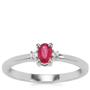 Burmese Ruby Ring with White Topaz in Sterling Silver 0.31ct