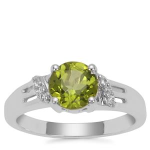 Red Dragon Peridot Ring with White Topaz in Sterling Silver 1.61cts