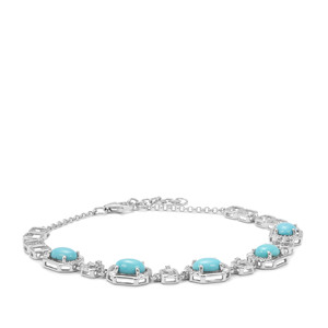 Sleeping Beauty Turquoise Bracelet with White Zircon in Sterling Silver 6.14cts