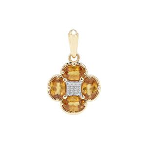 Morafeno Sphene Pendant with Diamond in 9K Gold 2.41cts