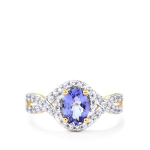 AA Tanzanite Ring with White Zircon in 9K Gold 1.08cts