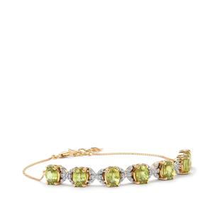Ambilobe Sphene Bracelet with Diamond in 18k Gold 7.28cts