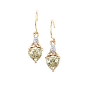 Csarite® Earrings with Diamond in 9K Gold 1.70cts