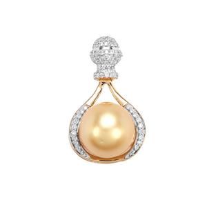 Golden South Sea Cultured Pearl Pendant with Diamond in 18K Gold (12mm)