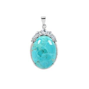 Cochise Turquoise Pendant with Sky Blue Topaz in Sterling Silver 21.41cts
