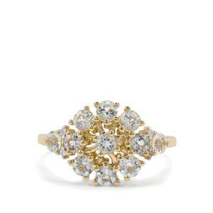 Aquaiba Beryl & White Zircon 9K Gold Ring ATGW 1.05cts