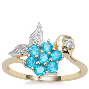 Neon Apatite Ring with White Zircon in 9K Gold 0.72ct