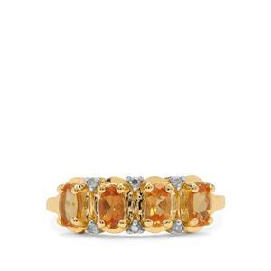 Mandarin Garnet Ring with Diamond in 9K Gold 1.25cts