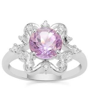 Rose du Maroc Amethyst Ring with White Zircon in Sterling Silver 1.95cts