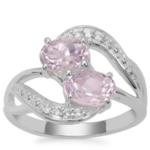 Brazilian Kunzite Ring with White Zircon in Sterling Silver 2.41cts