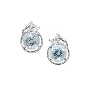 Sky Blue Topaz Earrings with White Zircon in Sterling Silver 6cts