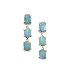 Crystal Opal on Ironstone Earrings with Diamond in 10K Gold