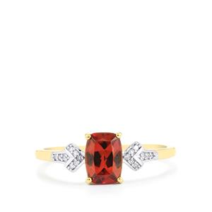 Zanzibar Zircon Ring with Diamond in 9K Gold 1.60cts
