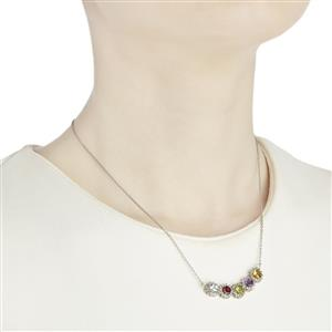 Multi-Colour Gemstones Sterling Silver Necklace ATGW 3.71cts