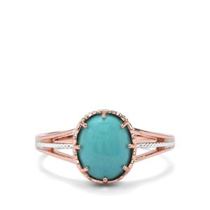 2.27ct Sleeping Beauty Turquoise Rose Midas Ring