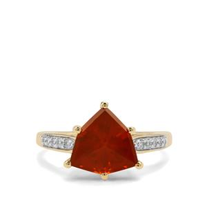 Orange American Fire Opal Ring with White Zircon in 9K Gold 2.42cts