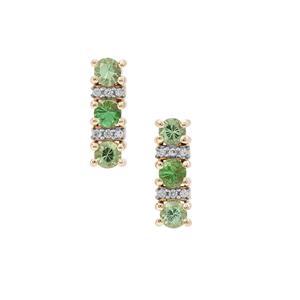 Tsavorite Garnet Earrings with White Zircon in 9K Gold 0.80ct
