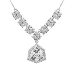 Alpine Cut Optic Quartz Necklace with White Zircon in 9K White Gold 9.40cts