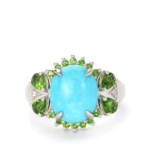 Sleeping Beauty Turquoise & Chrome Diopside Sterling Silver Ring ATGW 4.58cts