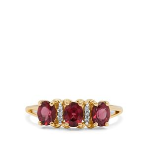 Malaya Garnet Ring with Diamond in 9K Gold 1.25cts