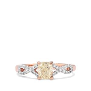 1.10ct Natural Coloured & White Diamond 18K Rose Gold Lorique Ring