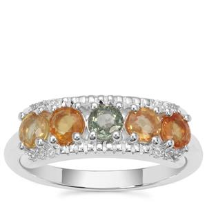 Songea Rainbow Sapphire Ring with White Zircon in Sterling Silver 1.58cts
