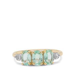 Malysheva Emerald & White Zircon 9K Gold Tomas Rae Ring ATGW 1.50cts