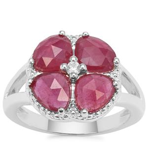 Rose Cut Malagasy Ruby Ring with White Zircon in Sterling Silver 3.05cts (F)