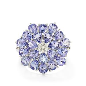 AA Tanzanite & White Zircon Sterling Silver Ring ATGW 6.43cts