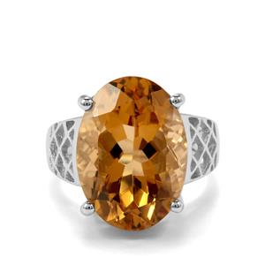 11.82ct Rio Golden Citrine Sterling Silver Ring
