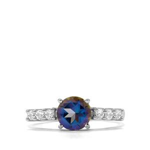 1.79ct Mystic Blue & White Topaz Sterling Silver Ring