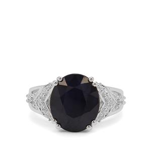 Madagascan Blue Sapphire Ring with White Zircon in Sterling Silver 7.86cts