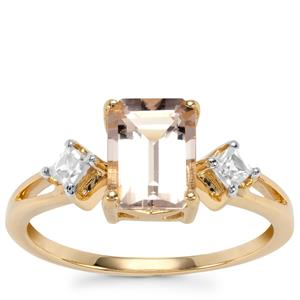 Alto Ligonha Morganite Ring with White Zircon in 10k Gold 1.68cts