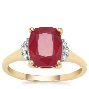 Malagasy Ruby Ring with White Zircon in 9K Gold 4.47cts