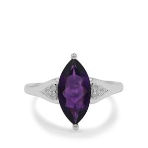 Zambian Amethyst Ring with White Zircon in Sterling Silver 2.55cts