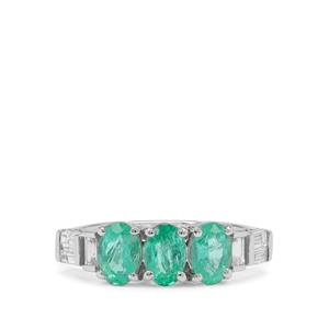 Russian Emerald Ring with White Zircon in 9K White Gold 1.80cts