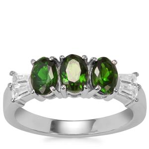 Chrome Diopside Ring with White Zircon in Sterling Silver 1.71cts