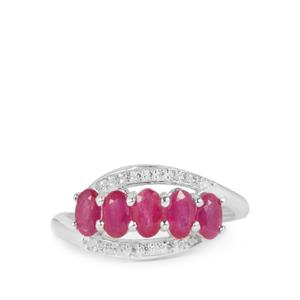 John Saul Ruby Ring with White Zircon in Sterling Silver 1.67cts