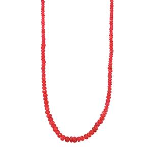 51ct Malagasy Ruby Sterling Silver Graduated Bead Necklace (F)
