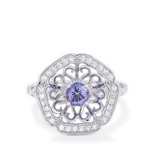 AA Tanzanite & White Zircon Sterling Silver Ring ATGW 1.04cts