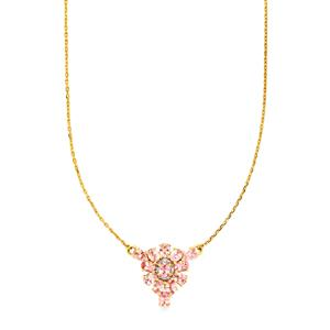 Pink Spinel Necklace with Diamond in 9K Gold 2.43cts