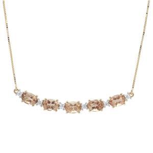 Oregon Cherry Sunstone & White Zircon 9K Gold Necklace ATGW 4.20cts