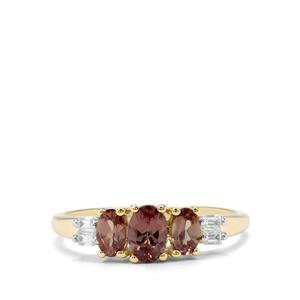 Tsivory Colour Change Garnet & White Zircon 9K Gold Ring ATGW 1.33cts