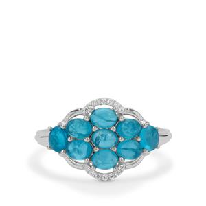 Neon Apatite & White Zircon Sterling Silver Ring ATGW 2.30cts